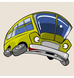 Cartoon Character Yellow Bus frightened flying vector