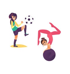 cartoon girls doing sports set vector image