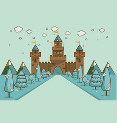 Cartoon of tale castle on hill landscape vector
