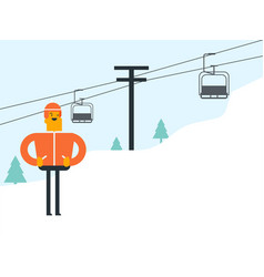 Caucasian white skier and cableway at ski resort vector