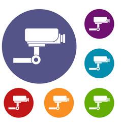 Cctv camera icons set vector