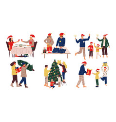 christmas celebration scenes kids and adults vector image