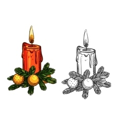 Christmas pine tree bow candle isolated sketch vector image