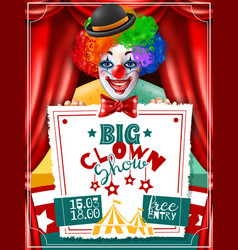 circus clown show invitation advertisement poster vector image