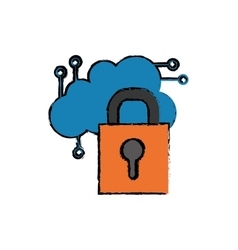 Cloud computing security system vector