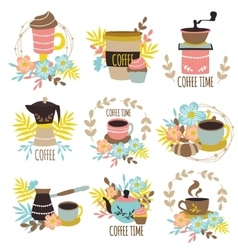 Coffee Time Hand Drawn Emblems vector