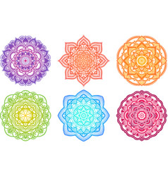colorful gradient mandala ethnic round ornament vector image