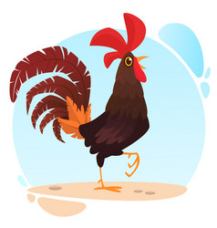 cute cartoon rooster vector image
