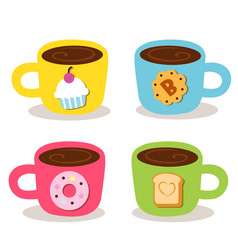 Cute Cup Coffee Bekery vector