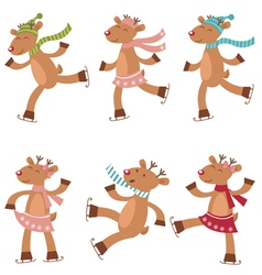Deers ice skating vector