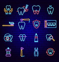 Dental neon icons vector
