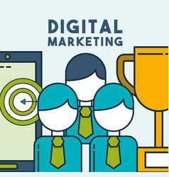 digital marketing people business phone target vector image
