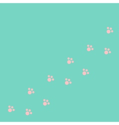 Dog cat paw print track diagonal Pink footprint vector