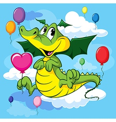 Dragon with balloon vector