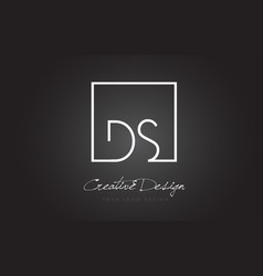 Ds square frame letter logo design with black and vector