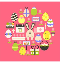 easter holiday flat icons set over dark pink vector image