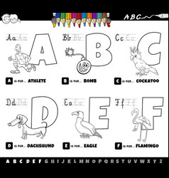 educational alphabet letters coloring book for vector image