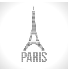 Eiffel Tower Dot silhuette Halftone Dotwork vector image