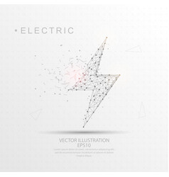 electric lightning shape digitally drawn low poly vector image