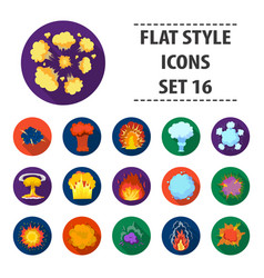 explosions set icons in flat style big collection vector image