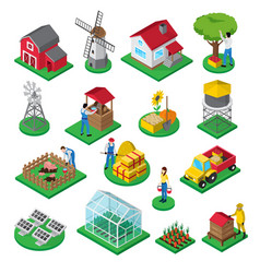 Farm facilities workers isometric icons set vector
