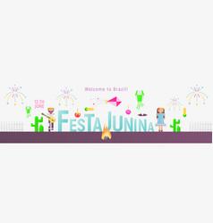 festa junina web banner vector image