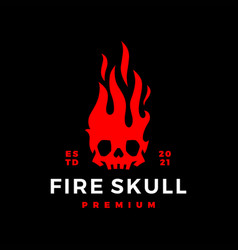 fire skull flame logo icon vector image