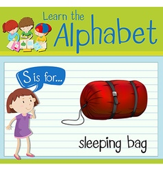 Flashcard letter S is for sleeping bag vector