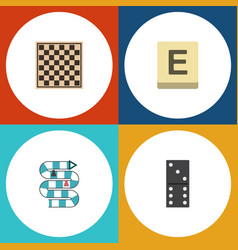 Flat icon games set of chess table multiplayer vector