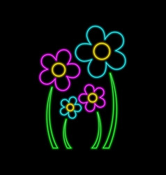 Flowers neon sign family concept bright glowing vector