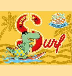 funny monster cartoon on surfboard vector image
