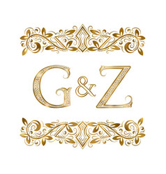 G and z vintage initials logo symbol vector