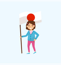 girl holding national flag of japan design vector image