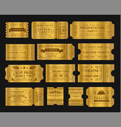 gold vintage tickets realistic vector image