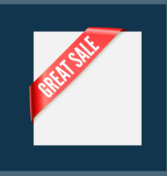 great sale - red corner ribbon design vector image