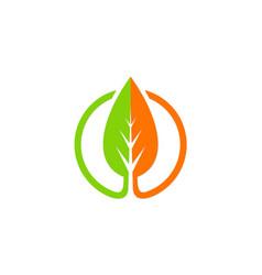 green leaf organic nature icon logo vector image