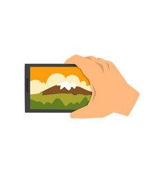 Hand making smartphone photo of mountain snapshot vector