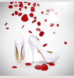 High Heeled Shoes and Rose Petals vector