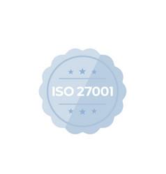 iso 27001 standard badge on white vector image