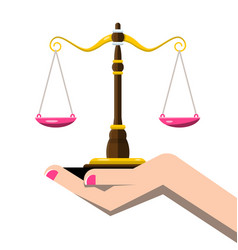 Justice scales in woman hand isolated on white vector