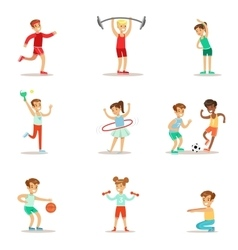 Kids Practicing Different Sports And Physical vector