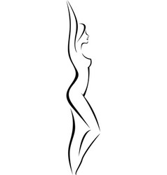 linear silhouette of a slim naked woman in profile vector image