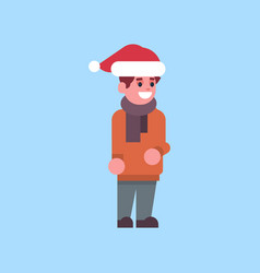 man santa red hat merry christmas holiday happy vector image