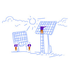men installing solar panel alternative energy vector image