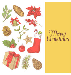 merry christmas greeting card new year hand drawn vector image