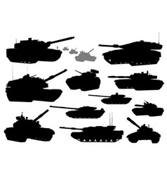 militarytank silhouettes vector image