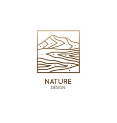 mountain minimalistic logo rectangular linear vector image