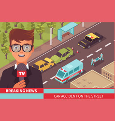 News report tv composition vector