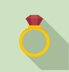 Notary gold ring icon flat style vector