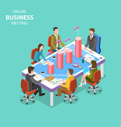 Online business meeting isometric flat vector